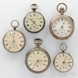 Five Silver Open Face Watches