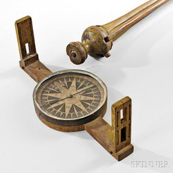 Newell & Son Yellow-painted Surveying Compass