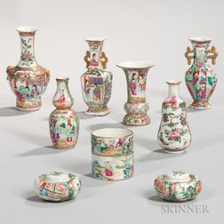 Nine Small Famille Rose Export Porcelain Vases and Salt and Pepper Shakers