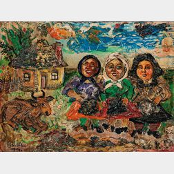 David Davidovich Burliuk (Ukrainian/American, 1882-1967)      Farm Landscape with Three Peasant Women