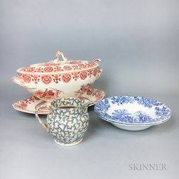 Six Transfer-decorated Ceramic Items