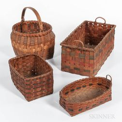 Four Native American Paint-decorated Baskets