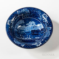 "Staffordshire Historical Blue Transfer-decorated ""Landing of Lafayette"" Serving Bowl"