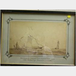 Victorian Framed Photo of the Schooner Yacht Columbia;