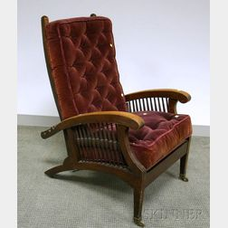 Mahogany Spindle-sided Adjustable-back Morris Chair with Upholstered Cushions.