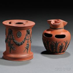Two Wedgwood Rosso Antico Inkstands