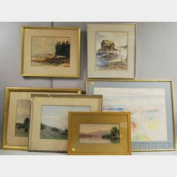 Six Assorted Framed Watercolors