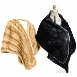 Mink Stole and Black Fur Scarf.