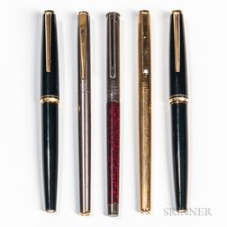 Five Montblanc Cartridge-filler Fountain Pens