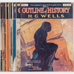 Wells, H.G. (1866-1946) The Outline of History Being a Plain History of Life and Mankind  , Partial Set in Parts.
