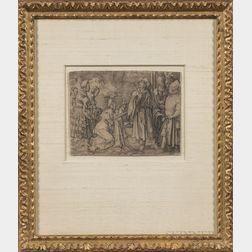 Two Framed Old Master Engravings:      Lucas van Leyden (Dutch, 1494-1533), Potiphar's Wife Accusing Joseph