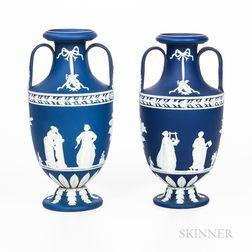 Two Similar Wedgwood Dark Blue Jasper Dip Vases