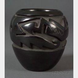 Southwest Carved Black-on-Black Pottery Bowl