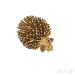 14kt Gold Hedgehog Brooch