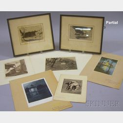 Lot of Approximately Fourteen Framed and Unframed Prints on Paper