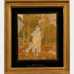Framed Needlepoint of a Young Girl