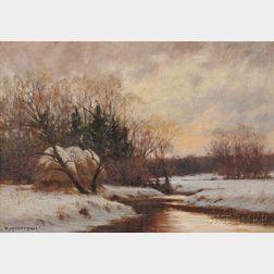 William Merritt Post (American, 1856-1935)      Winter Stream at the Meadow's Edge