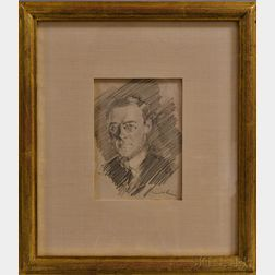 William Merritt Chase (American, 1849-1916)      Portrait of Louis Betts