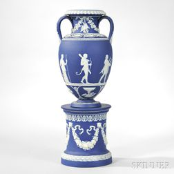 Wedgwood Dark Blue Jasper Dip Vase and Drum Base