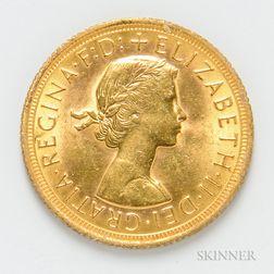 1967 British Gold Sovereign, KM908