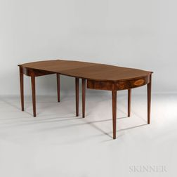 Federal Mahogany and Satinwood-inlaid Two-part Dining Table