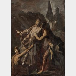 Manner of Alessandro Magnasco (Italian, 1667-1749)      Oil Sketch of The Disrobing of Christ