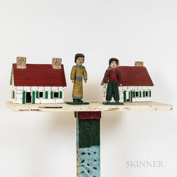 """Mike Frolich """"Twin Houses"""" and Two Carved and Painted Corncob People"""