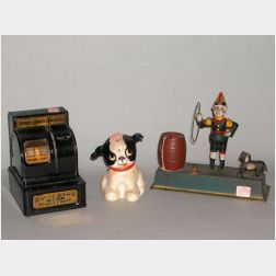 Uncle Sams 3 Coin Register Bank, Painted Cast Iron Fido Bank, and Trick Dog Mechanical Bank.