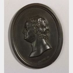 Wedgwood Black Basalt Portrait Medallion of Benjamin Franklin