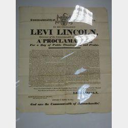 1825 Commonwealth of Massachusetts Thanksgiving Proclamation Broadside