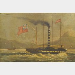 Sunqua (Chinese, ac. 1830-1870)    Historically  Important Depiction of the Paddle Steamer Forbes