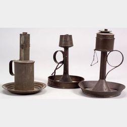 Three Tin Lard Lamps