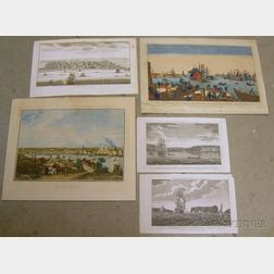 Five Unframed Assorted French Lithograph Views