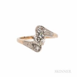 Gold and Diamond Bypass Ring, Birks