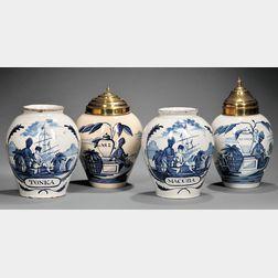 Four Dutch Delft Tobacco Jars