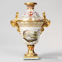 Derby Porcelain Topographical Vase