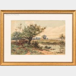 Two Framed Watercolors:      Albert Matthews (American, 20th Century), The Banks of the River