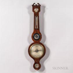 Georgian-style Mahogany Veneer Campbell & Co. Mercury Barometer