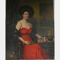 Two Portraits of Edith (Enid) Elizabeth Hallin of Dorchester, Massachusetts: Scott Clifton Carbee (American, 1860-1946), Full-length...