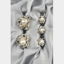 18kt White Gold, Baroque Cultured Pearl, Sapphire, and Diamond Dress Set,   Arthur King