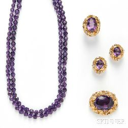 14kt Gold, Amethyst, and Diamond Suite
