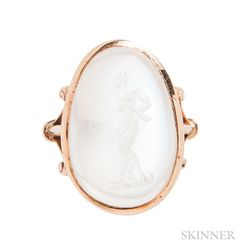 14kt Gold and Moonstone Intaglio Ring