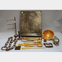 Fifteen Assorted Wood and Metal Kitchen Items