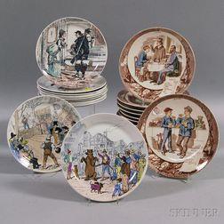 Twenty French Transfer-decorated Pottery Plates