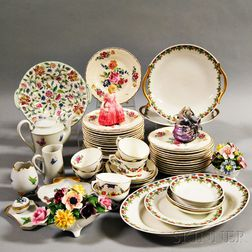 Sixty-one Limoges and Coalport Porcelain Items