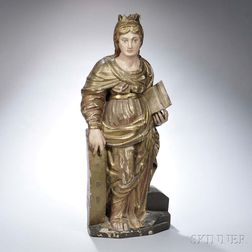 Continental Polychrome Painted Giltwood Figure of Catherine of Alexandria