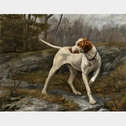 Alexander Pope (American, 1849-1924)      Pointer on Duty in the Woods