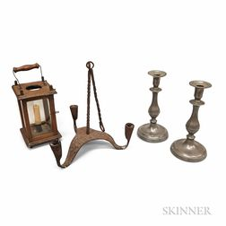 Wrought Iron Three-light Chandelier, a Pair of Pewter Candlesticks, and a Hanging Lantern