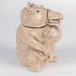 Staffordshire White Salt-glazed Stoneware Bear Jar and Cover