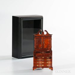 Miniature Carved Serpentine-front Scroll-top Desk/Bookcase